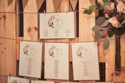Holzpalette als Sitzplan mit Blumenschmuck von Meisterflorist Ganz Unverblümt Straubing